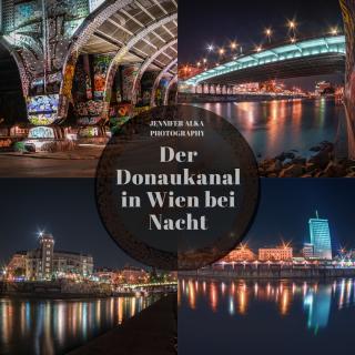 Der Donaukanal in Wien bei Nacht