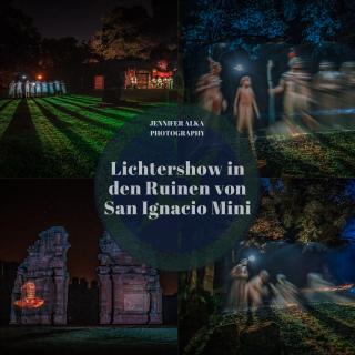 Lichtershow / Lasershow in den Ruinen von San Ignacio Mini