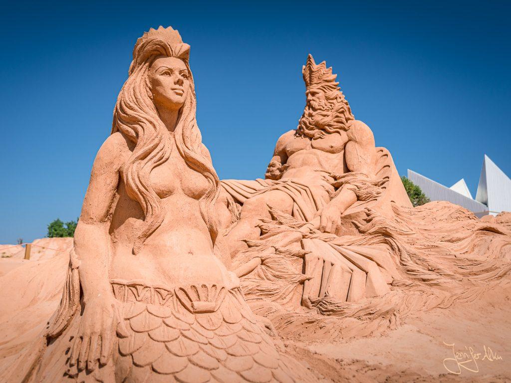 Sandskulpturen zur griechischen Mythologie